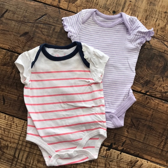 bf44079483a Two Baby Girl Striped Newborn Short Sleeve Onesies